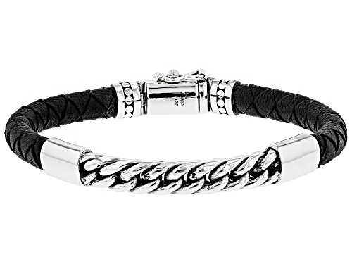 Photo of Artisan Collection of India™ Mens Leather And Sterling Silver Bracelet - Size 8.5