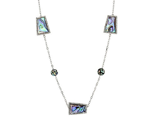 "Photo of Pacific Style(Tm10-20mm Abalone Shell With 3.9ctw Bella Luce® Sterling Silver 40"" Station Necklace - Size 40"