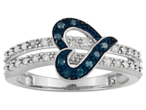 Photo of 0.10ctw Round Blue Velvet Diamond™ & White Diamond Rhodium Over Sterling Silver Heart Ring - Size 8