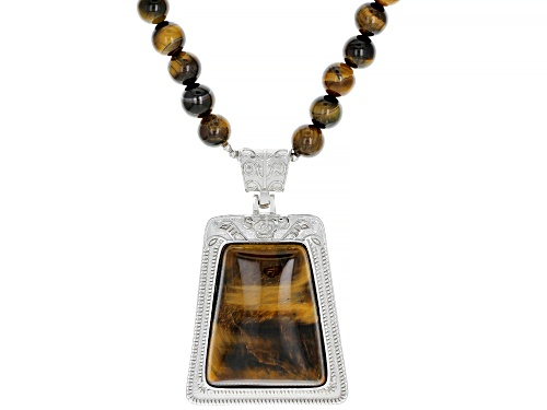 Photo of 8-9mm Round Bead & 35x20mm Trapezoid Drop Tiger's Eye Sterling Silver Necklace - Size 20
