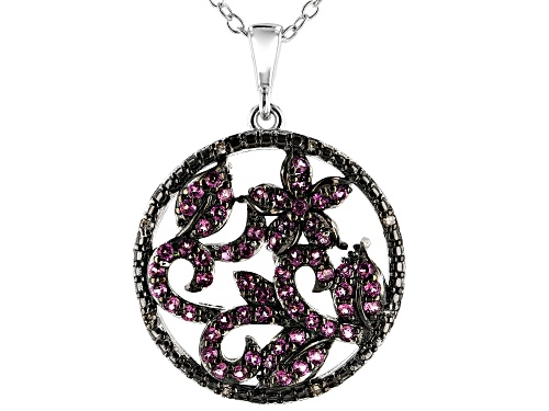 Photo of .66ctw Rhodolite with .03ctw Champagne Diamond Accent Rhodium Over Silver Pendant with Chain