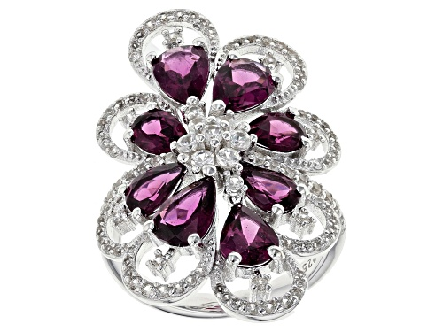 Photo of 4.56CTW RASPBERRY COLOR RHODOLITE WITH 1.25CTW WHITE ZIRCON RHODIUM OVER STERLING SILVER RING - Size 8