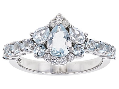 Photo of .50ct Pear Shape Aquamarine with 1.20ctw Glacier Topaz(TM) & White Zircon Rhodium Over Silver Ring - Size 9