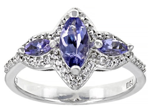 Photo of .68CTW MARQUISE TANZANITE WITH .26CTW ROUND WHITE ZIRCON RHODIUM OVER STERLING SILVER 3-STONE RING - Size 8