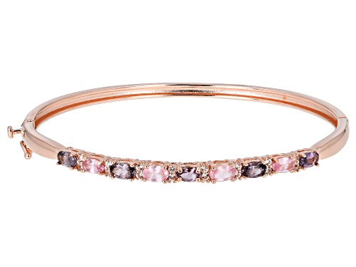 Photo of 1.91ctw Multi-Color Spinel w/ .27ctw White Topaz 18k Rose Gold Over Sterling Silver Bangle Bracelet - Size 8