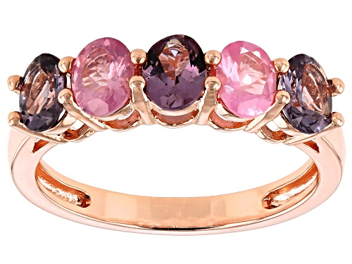 Photo of 1.53ctw Oval Multi-Color Spinel 18k Rose Gold Over Sterling Silver Band Ring - Size 7