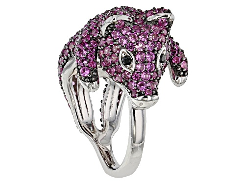 Photo of 4.80ctw Lab Created Pink Sapphire with .02ctw Black Spinel Rhodium Over Sterling Silver Pig Ring - Size 7