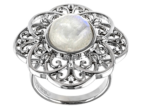 Photo of 10MM ROUND CABOCHON RAINBOW MOONSTONE RHODIUM OVER STERLING SILVER SOLITAIRE RING - Size 8