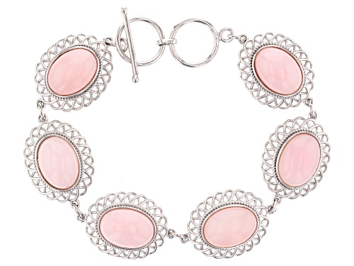 Photo of 14x10mm Oval Peruvian Pink Opal Rhodium Over Sterling Silver Bracelet - Size 7.25