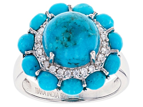Photo of 10mm Round & 4x3mm Oval Turquoise With .26ctw Round White Zircon Rhodium Over Silver Ring - Size 7