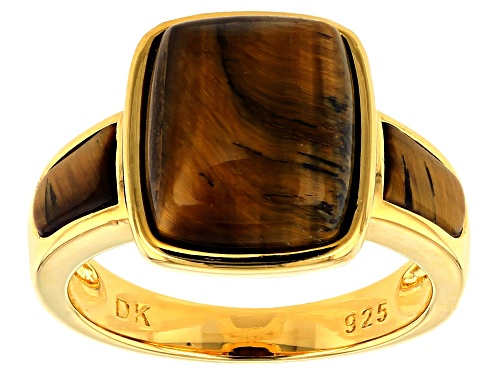 Photo of 12x10mm Rectangular Cushion & 7x4mm Fancy Shape Tiger's Eye 18k Gold Over Silver 3-Stone Ring - Size 7
