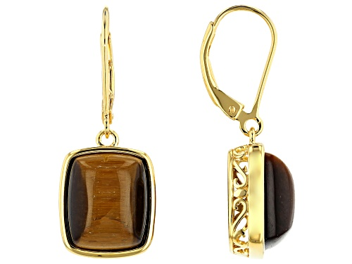 Photo of 12x10mm Rectangular Cushion Tiger's Eye 18k Yellow Gold Over Silver Solitaire Dangle Earrings