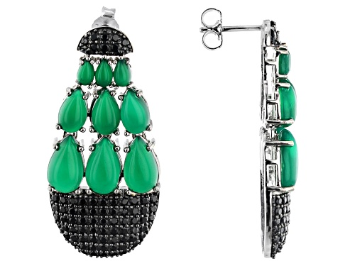 Photo of PEAR SHAPE CABOCHON GREEN ONYX WITH 2.29CTW BLACK SPINEL RHODIUM OVER SILVER DANGLE EARRINGS