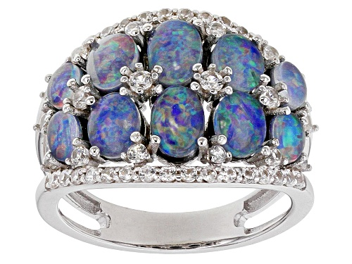 Photo of Oval Australian Opal Triplet With .76ctw Round White Zircon Rhodium Over Silver Band Ring - Size 7