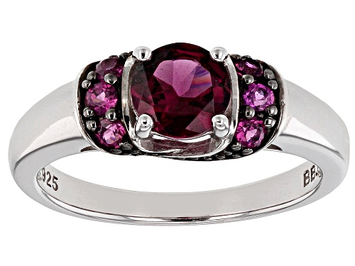 1.25CTW ROUND RASPBERRY COLOR RHODOLITE RHODIUM OVER STERLING SILVER RING - Size 9