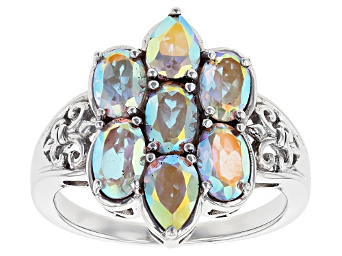 Photo of 3.13CTW OVAL AND PEAR SHAPE MERCURY MIST(R) TOPAZ RHODIUM OVER STERLING SILVER RING - Size 7