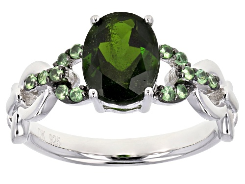 Photo of .81ct Oval Chrome Diopside With .15ctw Round Tsavorite Rhodium Over Sterling Silver Ring - Size 9