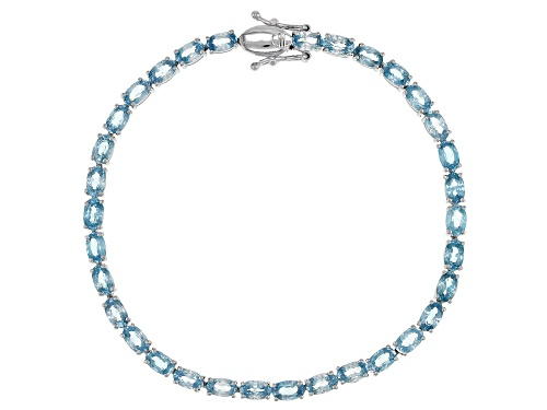Photo of 13.00ctw Oval Blue Zircon Rhodium Over Sterling Silver Tennis Bracelet - Size 8
