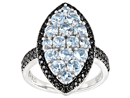 Photo of 1.62ctw round aquamarine with .59ctw round black spinel rhodium over silver marquise shape ring - Size 7