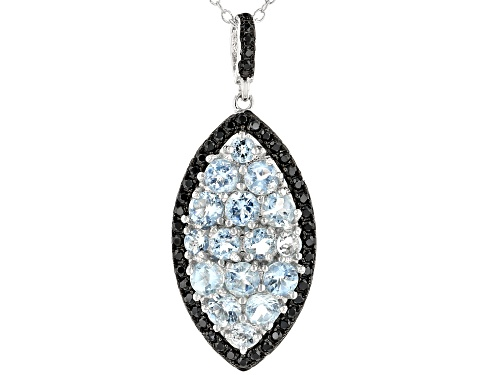 Photo of 1.62ctw round aquamarine with .44ctw round black spinel rhodium over silver pendant with chain