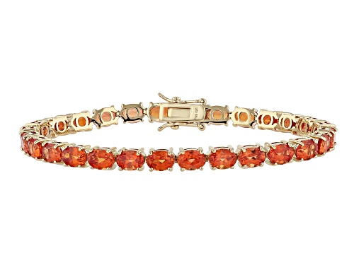 Photo of 19.69ctw Oval Lab Created Padparadscha Sapphire 18k Gold Over Sterling Silver Tennis Bracelet - Size 7.25