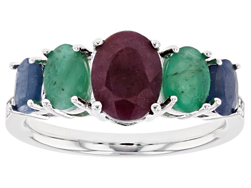 Photo of 2.88ctw Indian Ruby, Emerald & Sapphire W/ .03ctw Zircon Rhodium Over Silver Band Ring - Size 8