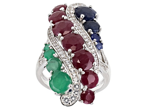 Photo of 8.28ctw Graduated Ruby, Emerald, Blue Sapphire & White Topaz Rhodium Over Silver Cocktail Ring - Size 7