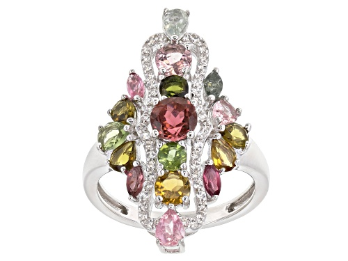 Photo of 2.22CTW MIXED SHAPES MULTI-CLR TOURMALINE WITH .29CTW WHITE ZIRCON RHODIUM OVER SILVER RING - Size 8