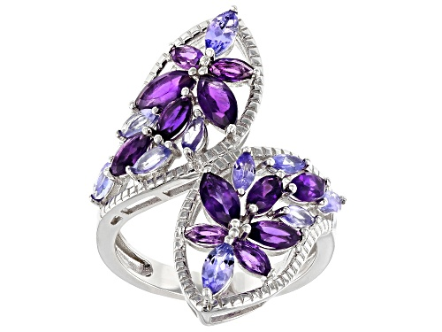 Photo of 1.56ctw Marquise African Amethyst With .90ctw Marquise Tanzanite Rhodium Over Silver Bypass Ring - Size 7