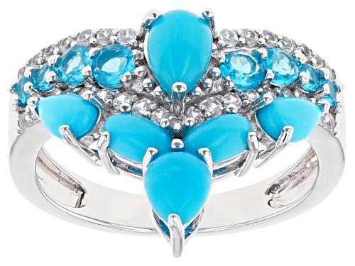 Photo of Sleeping Beauty Turquoise with .82ctw Neon Apatite & White Zircon Rhodium Over Silver Chevron Ring - Size 10