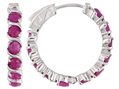 Photo of 6.60ctw Round India Ruby Rhodium Over Sterling Silver Sterling Silver Hoop Earrings