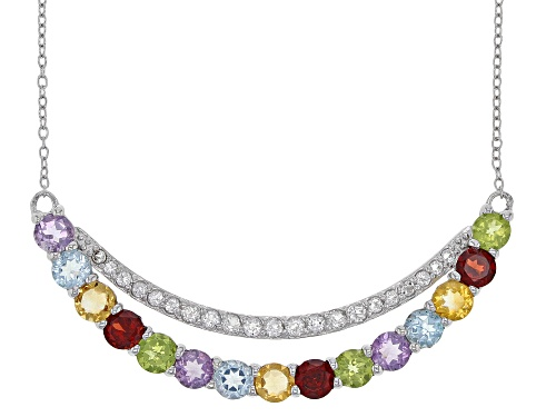 Photo of 4.14CTW Multi-color Mixed Gemstone with .88ctw White Topaz Rhodium Over Silver Necklace - Size 18