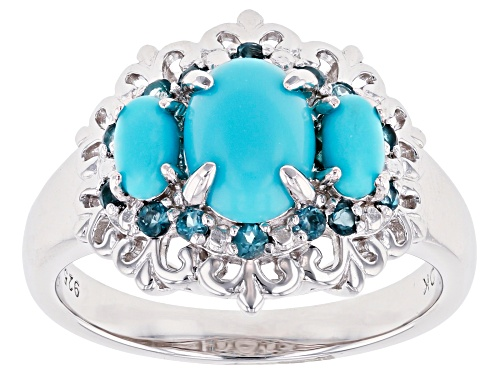 Photo of Oval Sleeping Beauty Turquoise & .24ctw Round  London Blue Topaz Rhodium Over Silver 3-Stone Ring - Size 9