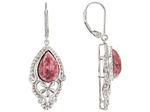 Photo of 12x8mm Pear Shape Cabochon Thulite Solitaire Rhodium Over Sterling Silver Dangle Earrings