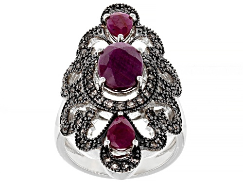 Photo of 2.84ctw Mixed Shape Indian Ruby with .51ctw Round Smoky Quartz Rhodium Over Sterling Silver Ring - Size 8