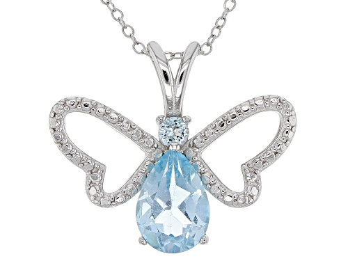 Photo of 3.15ctw Pear Shape and Round Glacier Topaz(TM)  Rhodium Over Silver Butterfly Pendant W/Chain