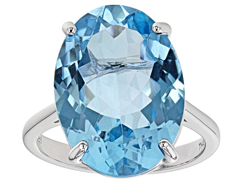 Photo of 15.20ct Oval Glacier Topaz(TM) Rhodium Over Sterling Silver Solitaire Ring - Size 8
