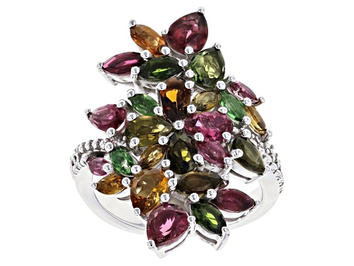 Photo of 3.34CTW PEAR SHAPE AND MARQUISE MIXED-COLOR TOURMALINE RHODIUM OVER STERLING SILVER BYPASS RING - Size 8