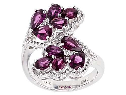 Photo of 2.88ctw Pear Shape Raspberry Color Rhodolite & .05ctw White Zircon Rhodium Over Silver Bypass Ring - Size 7