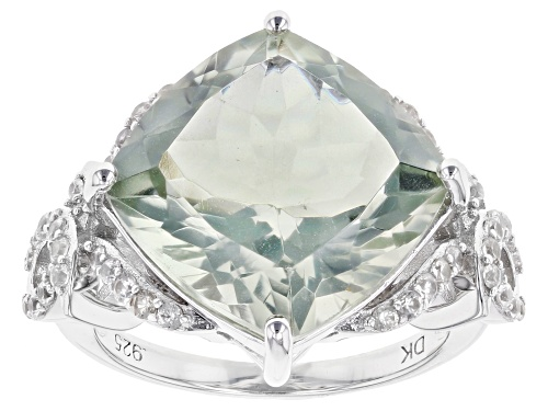 Photo of 8.92ct Square Cushion Prasiolite with .61ctw Round White Zircon Rhodium Over Sterling Silver Ring - Size 6
