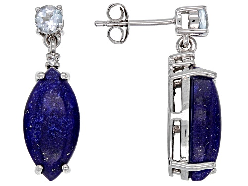 Photo of Lapis Lazuli with .51ctw Glacier Topaz™ & .03ctw White Zircon Rhodium Over Silver Dangle Earrings