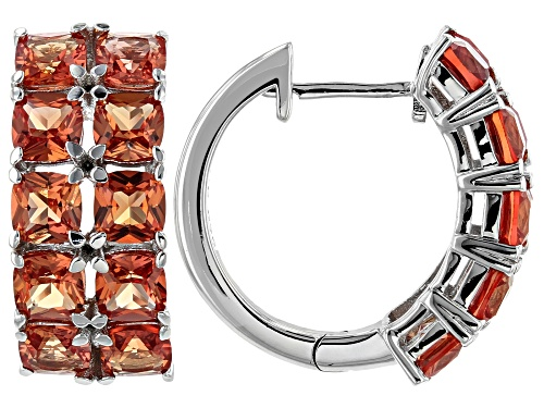 Photo of 6.12ctw cushion Lab Created Padparadscha Sapphire Rhodium Over Silver hoop Earrings