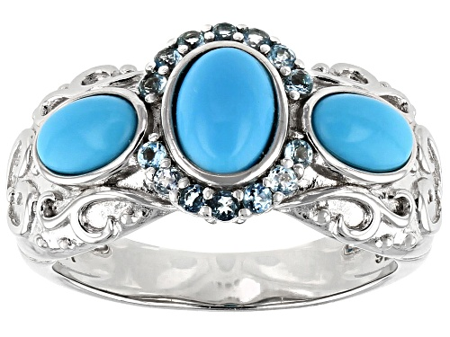 Photo of 7x5mm and 6x4mm Oval Sleeping Beauty Turquoise W/.24ctw Swiss Blue Topaz Rhodium Over Silver Ring - Size 8