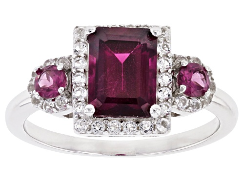 Photo of 2.60CTW EMERALD CUT & ROUND RASPBERRY COLOR RHODOLITE, .31CTW WHITE TOPAZ RHODIUM OVER SILVER RING - Size 9