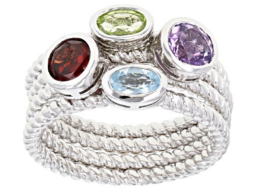 Photo of 1.32ctw Oval & Round Multi-Color Mixed Gemstone Rhodium Over Silver Set of 4 Stackable Rings - Size 9
