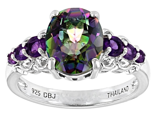 Photo of 2.36ct oval multi-color green quartz with .40ctw round amethyst rhodium over sterling silver ring - Size 8