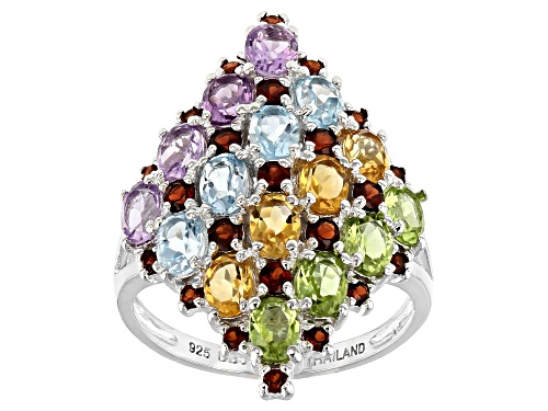 Photo of 3.67ctw oval and round multi-gemstones rhodium over sterling silver ring - Size 7