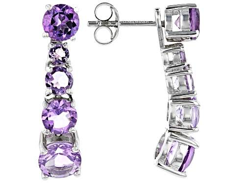 Photo of 4.00ctw Graduated 3, 4, 5 & 6mm Round Amethyst Rhodium Over Silver Stud & Charm Earrings Set