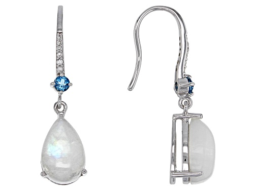 Pear Shape Rainbow Moonstone & .32ctw London Blue Topaz & White Zircon Rhodium Over Silver Earrings