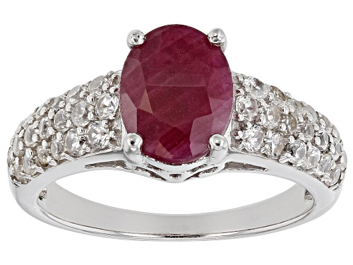 Photo of 1.78CT OVAL INDIAN RUBY WITH .81CTW ROUND WHITE ZIRCON RHODIUM OVER STERLING SILVER RING - Size 9